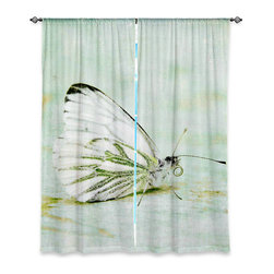 """DiaNoche Designs - Window Curtains Lined by Iris Lehnhardt - Butterfly - Purchasing window curtains just got easier and better! Create a designer look to any of your living spaces with our decorative and unique """"Lined Window Curtains."""" Perfect for the living room, dining room or bedroom, these artistic curtains are an easy and inexpensive way to add color and style when decorating your home.  This is a woven poly material that filters outside light and creates a privacy barrier.  Each package includes two easy-to-hang, 3 inch diameter pole-pocket curtain panels.  The width listed is the total measurement of the two panels.  Curtain rod sold separately. Easy care, machine wash cold, tumble dry low, iron low if needed.  Printed in the USA."""
