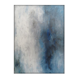 "Abstract Seascape Original Painting on Canvas, 24"" x 36"" - Dimensions: 24x36 with a profile of approx 1''"