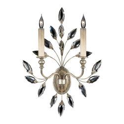 Fine Art Lamps - Fine Art Lamps 752350ST Crystal Laurel Warm Silver Leaf Wall Sconce - 2 Bulbs, Bulb Type: 60 Watt Candelabra; Weight: 7lbs