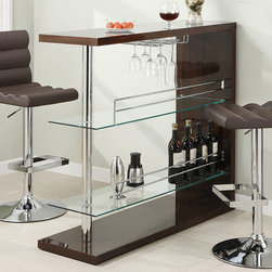 Coaster - Bar Table in Cappuccino - Entertain in style with the sleek contemporary bar unit featuring 2 glass storage shelves and a wine glass holder. The unit is finished in a gloss cappuccino and topped off with chrome accents.