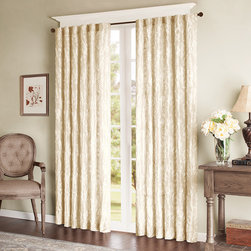 Madison Park - Madison Park Phoebe Window Curtain - Tonal embroidered ribbon swirls on faux silk. Lined for added privacy and light filtering properties. Two hanging options: 1) using the rod pocket for more of a traditional appearance; 2) using the back tabs for a more contoured look. 100% polyester, polyester lined Rod pocket, back tabs