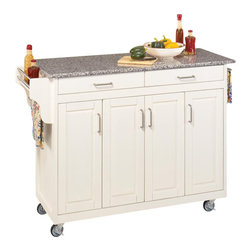 Home Styles - Home Styles Create-a-Cart 49 Inch Salt and Pepper Granite Top Kitchen Cart in a - Home Styles - Kitchen Carts - 92001023 - Home Styles Create-a-Cart Kitchen Cart in a White finish with a salt and pepper granite top features solid wood construction, four cabinet doors open to storage with three adjustable shelves inside, handy spice rack with towel bar, paper towel holder, and heavy duty locking rubber casters for easy mobility and safety.