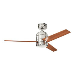 Kichler - Arkwright 58 Inch Polished Nickel Ceiling Fan w/ Light Kit - -Includes a Polished Nickel housing, reversible Cherry/Dark Cherry blades, and an incandescent bulb light kit  - 100Mm X 65MM High Efficiency DC motor  - Includes 78 of lead wire  - Limited Lifetime warranty, see packaging for details.   - Six available speeds, 3 forward, 3 reverse.   - Maximum mounting slope/pitch of 30 degrees (7/12)  - Includes CoolTouch 6 Speed DC Control System  - Incandescent light kit included Kichler - BKIT-300146PN-370027AP-380047PN