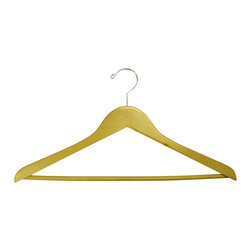 Proman Products - Proman Products Genesis Flat Suit Hanger w/Wooden Bar in Natural - Genesis flat suit hanger w/wooden bar, natural, chrome hw, 4.5Lx1.2Tcm, 50 pcs/case