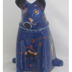Mercedes Pottery - Dog Treat Jar Blue - Ceramic, earthenware clay, Dog Treat, Jar