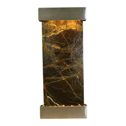 Inspiration Falls Wall Fountain, Stainless Steel, Rainforest Green Marble, Squar - The Inspiration Falls Wall Fountain is a centerpiece of serenity and beauty of nature that is perfect for your home or office. It exudes an experience of being one with nature within your own workplace or living room.