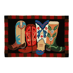 Homefires - Boot Scootin' Rug - Some boots are so nice they aren't made for walkin' they made for lookin' at.  That's the case with this boot-featuring, wool-like, machine-washable rug. However, you should be warned, bringing this rug into your home has been known to induce dancin'.