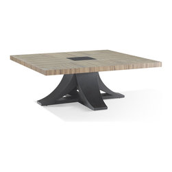 Allan Copley Designs - Allan Copley Designs Bonita Square Cocktail Table w/ Zebrawood Top & Mocha on Oa - The Bonita Collection by Allan Copley Designs offers a stunning view into chic and urban living. This carefully crafted masterpiece is topped with a Zebrawood finish on a Mocha on Oak Pedestal Base  refined elegance is the result. With the two-tone finish the collection is aesthetically balanced to add beauty to any room's decor. The Bonita Collection includes Square Cocktail  Square End  Console Table  Dining Table  Bed and Night Stand.
