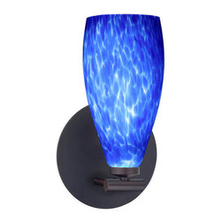 BESA Lighting - BESA Lighting 1SX-719886 Karli 1 Light Halogen Wall Sconce - The Karli pendant features a softly radiused glass, that will gracefully blend into almost any decorating theme. Our Blue Cloud glass is full of floating, splashes of blue tones over white that almost feels like a watercolor painting. This combination of color is crisp and timeless. This decor is created by rolling molten glass in small bits of blue hues called frit. The result is a multi-layered blown glass, where frit color is nestled between an opal inner layer and a clear glossy outer layer. The handcrafted touch of a skilled artisan, utilizing century-old techniques passed down from generation to generation, creates variations in color and design that are to be appreciated. The mini sconce fixture is equipped with a low-profile machined lamp holder and either round or square flat canopy. The glass shade threads onto the lamp holder for easy installation.Features: