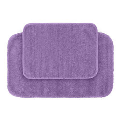 None - Plush Deluxe Wisteria Bath Rugs (Set of 2) - Relish the luxurious softness of the Plush Deluxe bathroom collection with this convenient set of two purple bath rugs. The rugs add a tasteful color to bathroom space and feature safe non-skid backing.