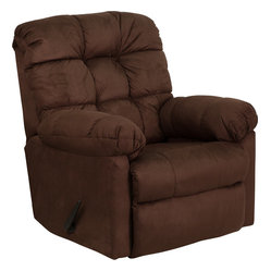 Flash Furniture - Contemporary Padded Walnut Microfiber Rocker Recliner - Great looks and extreme microfiber comfort come to mind when you sit in this quality made rocker recliner. Its style works well with any decor, and it delivers everything you expect in a piece of home furniture, all at a great value.