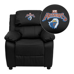"Flash Furniture - Texas at Tyler Patriots Black Leather Kids Recliner with Storage Arms - Get young kids in the college spirit with this embroidered college recliner. Kids will now be able to enjoy the comfort that adults experience with a comfortable recliner that was made just for them! This chair features a strong wood frame with soft foam and then enveloped in durable leather upholstery for your active child. This petite sized recliner features storage arms so kids can store items away and retrieve at their convenience. University of Texas at Tyler Embroidered Kids Recliner; Embroidered Applique on Headrest; Overstuffed Padding for Comfort; Easy to Clean Upholstery with Damp Cloth; Flip-Up Storage Arms; Storage Arm Size: 3.25""W x 6""D x 11""H; Solid Hardwood Frame; Raised Black Plastic Feet; Intended use for Children Ages 3-9; 90 lb. Weight Limit; Black LeatherSoft Upholstery; LeatherSoft is leather and polyurethane for added Softness and Durability; CA117 Fire Retardant Foam; Safety Feature: Will not recline unless child is in seated position and pulls ottoman 1"" out and then reclines; Overall dimensions: 25""W x 26"" - 39""D x 28""H"