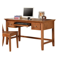 Steve Silver Furniture - Steve Silver Oslo Writing Desk in Oak - The Oslo Writing desk (Oak) provides ample working space as well as storage space with it's two drawers and keyboard tray. Available in black, white or cherry.