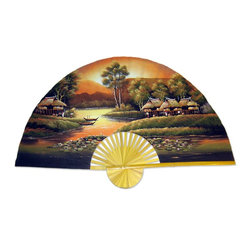 Oriental-Décor - Golden Village - Give your home a golden glow when you display this ethereally beautiful hand-painted fan. The bamboo frame will hang perfectly on your wall, and the village scene will be one you return to, time and again, to gain a feeling of peace.
