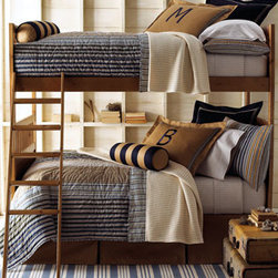 "Amity Home - ""Wilton"" Bed Linens  - The colors and fabrics used to create the ""Wilton"" line of bed linens would be perfect for a boys or young man's room.  The style and design is handsome and classic. Tailored panel dust skirts in khaki have an 18"" drop. Khaki standard sham can be monogrammed with a single initial in style and color shown."