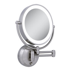 Zadro - Zadro Led Lighted 10X/1X Round Wall Mount Mirror In Satin Nickel-Ledw410 - The LED Lighted Round WallMirror features a dual-sided, premium quality mirror with two magnifications. On one side, a 10x magnification mirror allows you to see up-close and in detail, allowing for easy make-up application. The other side features a normal, 1x magnification mirror that is great for checking hair and make-up.
