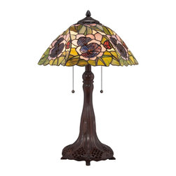 Quoizel - Quoizel TF1486T Greene Tiffany Table Lamp - Elegant Tiffany style is a timeless staple of home decor.  The various designs are handassembled using the copper foil technique developed by Louis Comfort Tiffany.  With an enormous variety of colors and patterns to choose from, Quoizel Tiffany�۪s have become more popular than ever.