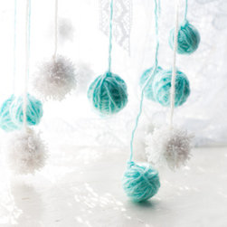 Blue, White and Mint Mobile by Melasha Cat - This is a beautiful mobile. I love the white and mint yarn balls.