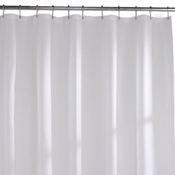 None - Commercial-grade Solid White Vinyl Shower Curtain Liner - This commercial-grade shower curtain liner is the preferred choice for institutions and public shower areas and can easily hold up within your home bath.