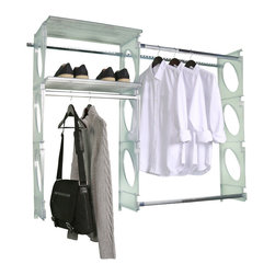 """KiO Storage - KiO Storage Closet & Shelving Kit, Frost, 5' - KiO's Closet & Shelving Kit is the organizer's favorite shelving system for revolutionary design, incredible strength and most important, easiest to install. The KiO kit requires no cutting tools, includes adjustable hanging rods and can be installed in as little as 20 minutes. KiO is made in the USA, will not chip, fade or deteriorate over time and has a Lifetime Guarantee. This 5' kit includes (11) total parts - (3) - 48"""" Panels, (2) - 24"""" Shelves, (2) - Adjustable Tracks, (2) - Telescoping Hanging Rods, (1) - Fixed Hanging Rod, and (1) - Hardware Pack that includes a level, sidecutter and fastening hardware. 5' KiO Kits span 50.5"""" to 60""""."""