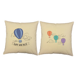RoomCraft - Hot Air Balloon Throw Pillows 16in Fly Away Natural Cushions - FEATURES: