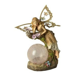 Coleman Cable - Garden Fairy Color-Changing Globe - MOONRAYS-- Garden Fairy with Color-Changing Globe. Add a little charm to your flower garden with this fairy statue. Crackle globe changes color at night. Crackle glass globe features color-changing LED. 1 x 300mAh AA NiCd rechargeable battery included. Handpainted polyresin with crackle glass globe. Runs up to 8 hours on a full charge. Bulk pack (white box) with UPC sticker.