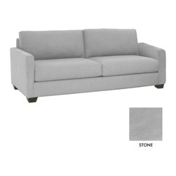 Apt2B - Tuxedo Sofa, Stone - All dressed up and nowhere to go. The Tuxedo Collection was made for staying in. A transitional look that can translate to any style room, dress it up with pillows or throws to achieve your own look! . Features a solid hardwood frame and upholstered in stain resistant smooth microfiber or woven polyester fabric.