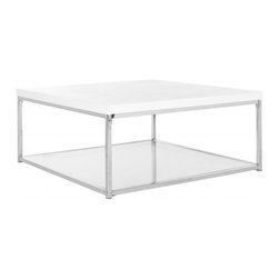Safavieh - Malone Coffee Table - Retro modern design is celebrated in the clean-lined contemporary Malone coffee table.  This handsome piece is crafted with white lacquer look finish on its top, chrome frame and a bottom shelf of tempered clear glass for magazines or curios.