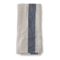 The Linen Works - Navy Stripe Arles Linen Napkins , Set of 8 - Introducing Arles.  Relaxed, vintage-inspired, perfect for informal gatherings and alfresco dining.  Matching linen placemats, tablecloth and tea towels are also available.