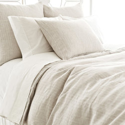Pine Cone Hill - PCH Pinstripe Linen Dove Gray Duvet Cover - Pinstripe offers contemporary bedding a layer of sophistication in neutral dove gray. This beautifully textured duvet cover is created with the quality craftsmanship for which PCH is known. Available in twin, full and king; 100% linen; Button closure; Designed by Pine Cone Hill, an Annie Selke company; Machine wash