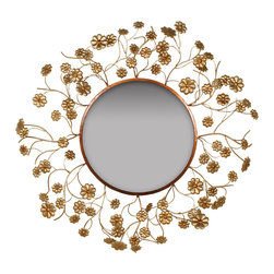 Welcome Home Accents - Wall mirror - Aged gold metal frame with lively gold metal stems and flowers extending from center. Hooks on back for easy hanging. Dust with a dry cloth. Made in China.