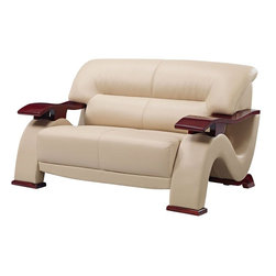 Global Furniture - Loveseat in Cappuccino with Mahogany Legs Bonded Leather - Upholstered in cappuccino bonded leather the Global Furniture USA loveseat has been modeled to cater to both the desires of the contemporary or transitional home for design and comfort.