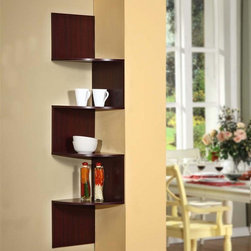 4D Concepts - Modern Staggering Corner Bookshelf in Cherry - Contact us to reserve yours!!You'll love this unique design as well as the price. Staggered shelf creates a conversation piece in corners that's easy to attach to existing walls. Fill with your favorite items and avoid clutter, too. Cherry finish will complement any decor. * Modern staggering step design. Fits perfectly in the corner of a room. Shown in CherrySome assembly required11 7/8 in. D x 11 7/8 in. W x 53 1/8 in. H