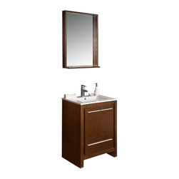 """Fresca - Allier 24"""" Wenge Brown Vanity w/ Mirror Fortore Chrome Faucet - The Fresca 24"""" Allier is a compact free standing vanity with plenty of storage space.  This model is accented nicely with a matching mirror with small shelf.     Many faucet styles to choose from."""