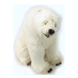 Hansa Portraits in Nature Realistic Stuffed Animals - This Hansa Polar Bear is sitting down and waiting to be adopted by you. Hansa Polar Bear is made from long white plush with black vinyl nose and open mouth. Hansa Polar Bear has black claws on all four legs.