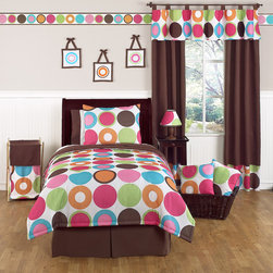 Sweet Jojo Designs - Sweet Jojo Designs Girl's 'Deco Dot Modern' 4-piece Twin Comforter Set - The Deco Dot twin bedding set by Sweet Jojo Designs will add comfort and an instant pop of style to your child's room. The exciting,bright color palette on a crisp white background will set your daughter up in high modern style.