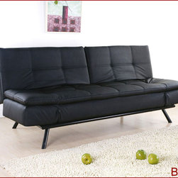 Abbyson Living - Quantum Black Leather Convertible Sofa - Seat and back cushion- high density foam, convulated foam, and leather. Constructed of solid oak wood frame, metal legs, and steel mechanisms. Black, Dark Brown, or White PU-Coated Leather. Adjustable Armrests and adjustable split backs. Hand Stiched Details with Tufted Design.