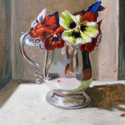 """Pied Pansy Fair - This original 8""""x10"""" oil painting by award-winning artist, Shanelle Deater will brighten any room in your home.  Mounted in a black wood plein-air frame with gilded gold inner trim.  Wired and ready to hang.  This lovely painting of pansies in a silver pitcher will set off any space - either contemporary or traditional."""