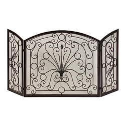 iMax - Wrought Iron Fireplace Screen - Simple elegance blends with functionality in this beautiful wrought iron fireplace screen.