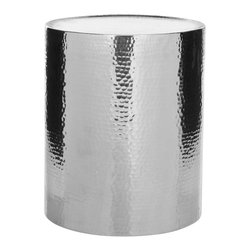 Safavieh - Polonium Occasional Hammered Table - With a highly polished aluminum and hammered finish, the Polonium drum table takes the basic cylinder to new heights of fashion as a contemporary column to hold a lamp or favorite treasure.