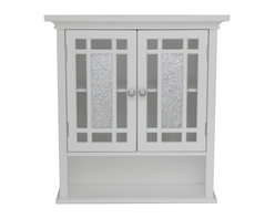 Elegant Home Fashions - Windsor Wall Cabinet with 2 Doors and 1 Shelf - The Windsor Wall Cabinet from Elegant Home Fashions offers sleek lines for a modern look.   This cabinet features two glass doors centered with silver mosaic glass accented with grid-work design and beveled molding. This unit offers plenty of storage space with one open shelf and one interior adjustable shelf making it easy to store items of different heights.  Chrome finish door knobs showcase the modern design.  This cabinet comes with assembly hardware.