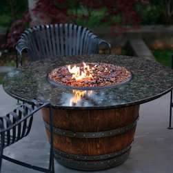 Modern Fire Pits, Contemporary Fire Pits - Great for Fall and Winter - For the enthusiast, drinking and tasting wine is more than a hobby, it's a lifestyle. Now, there is a gas fire pit as sophisticated and elegant as you. Vin de Flame wine barrel fire pit tables bring the flavor of the vineyards into outdoor living spaces. Each fire pit is unique and tells its own story because it's made out of a real wine barrel that was used in the production of wine.