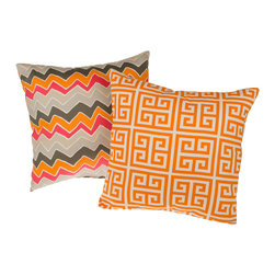 None - Tempo Orange Reversible Square Decorative Pillows (Set of 2) - Add some pizazz to your home with these vibrant decorative pillows. These throw pillows feature a green key and zigzag pattern in an orange color scheme. Each set comes with two pillows made of 100 percent cotton with 100 percent polyester fill.