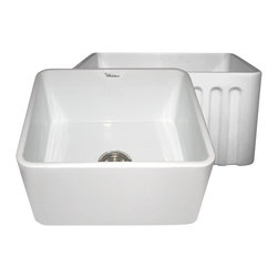 Whitehaus - Whitehaus Whflpln2018-White Reversible Sink - Reversible series fireclay sink with smooth front apron one side and fluted front apron on opposite side