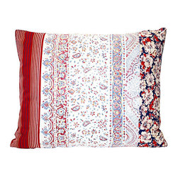 Acapillow - Vintage Fabric Patchwork Pillow - Flowers, stripes, calico and paisley come together harmoniously in this eclectic pillow. A mix of vintage fabrics, including antique French floral, 1940s feed sack, calico, and bright red Indian block print stripes bring individual character to each one. Pile a few on your bed for a cheery pop of color or let them liven up your living room sofa. The zipper closure on the natural hemp backside means the cover is easy to remove for dry cleaning.