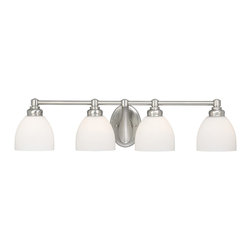 Vaxcel - Stockholm Brushed Nickel 4 Light Vanity - Vaxcel ST-VLD004BN Stockholm Brushed Nickel 4 Light Vanity