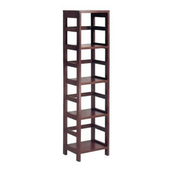 Winsome Wood - Leo Shelf with 4-Tier - With its classic, sturdy design, this elegant Leo Shelf unit fulfills both style and functional requirements. Its four sections hold the Espresso Small Storage Basket perfectly. Mix and match with the other Espresso Storage Shelves.