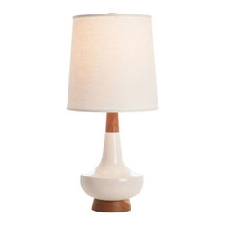 Alberta Table Lamp - White - Here's a gorgeous lamp with a hot mix of textures! The bright white stoneware base grabs your attention, then narrows to a polished cherry body and finial. The beige linen shade is the perfect topper to balance it out and fit it into any space.