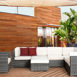 International Home Miami - Atlantic Marseille 8 Piece Grey Wicker Seating Set w/ White Cushions - Great quality  stylish design patio sets  made of aluminum and synthetic wicker. Polyester cushion with water repellant treatment. Enjoy your patio with elegance all year round with the wonderful Atlantic outdoor collection.