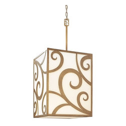 """Troy Lighting - Troy Lighting Pierre Transitional Pendant Light X-6572F - The various curls and curves on this Transitional Pendant Light by Troy Lighting not only offer beauty, but a sense of whimsy. Its alluring design, finished in a warm Autumn Leaf, sits upon a soft Frosted White Glass Shade, allowing the pattern to stand out and make a statement. Its 12"""" stem is not included in the measurements: the use of the stem is optional."""